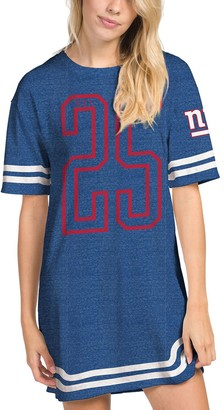 Junk Food Clothing Unbranded Women's Heathered Royal New York Giants Varsity Stripe Tri-Blend Dress