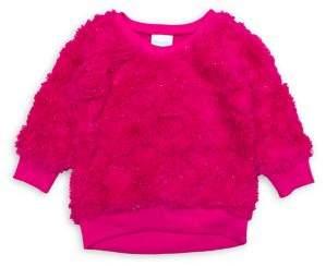 Nannette Little Girl's Faux Fur Glitter Heart Top