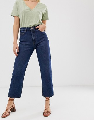 ASOS DESIGN recycled florence authentic straight leg jeans in rich dark stonewash blue