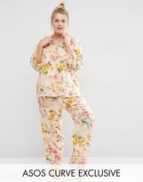 Asos Floral Bloom Print Traditional Shirt & Pant Pajama Set