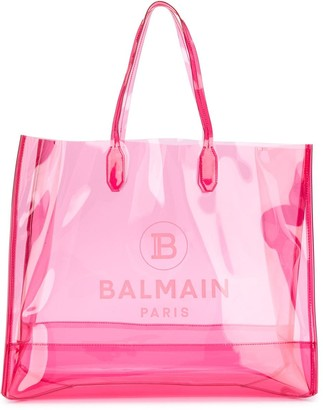 Balmain Large Transparent Tote Bag
