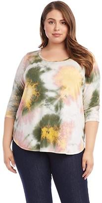 Karen Kane Plus Plus Size 3/4 Sleeve Tie-Dye Top (Tie-Dye) Women's Clothing