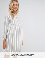 Asos Smock Dress in Natural Stripe