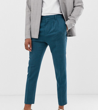 Hatch ASOS DESIGN Tall tapered crop smart trousers in teal cross