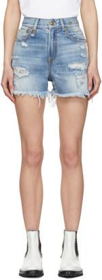 R 13 Blue Shredded Slouch Shorts