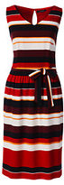 Classic Women's Petite Sleeveless Woven Crepe Dress-Bright Tomato Multi Stripe