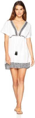 Oasis Wild Beachwear Women's V Neck Empire Waistline Swimwear Dress Medium Black