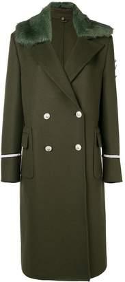Ermanno Scervino faux fur trim double breasted coat