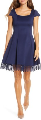 Donna Ricco Lace Trim Fit & Flare Dress