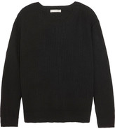 Vince Tie-back Ribbed Cotton And Cashmere-blend Sweater - Black