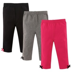 Hudson Baby Baby Leggings with Ankle Bows, 3-Pack, Pink and Gray, 2T-5T