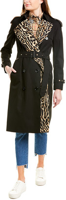 Burberry Leopard-Print Lined Gabardine Trench Coat