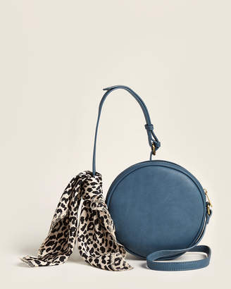 Street Level Blue Round Crossbody With Leopard Effect Scarf
