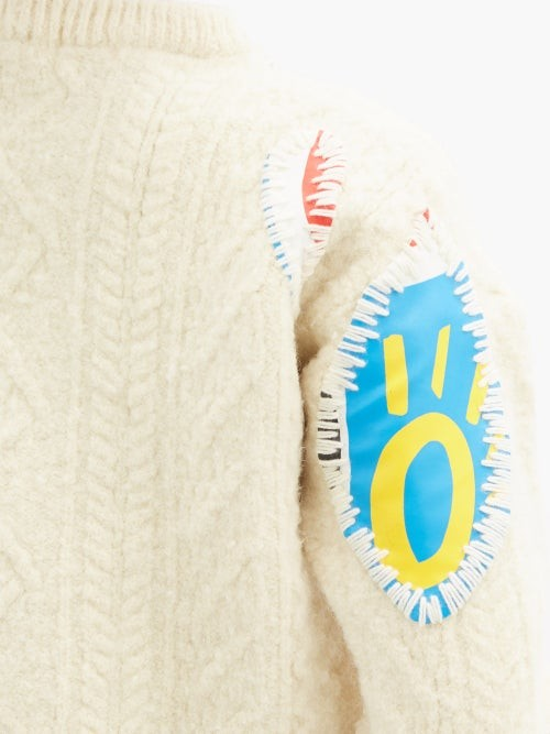 Thumbnail for your product : Charles Jeffrey Loverboy Cat-print Applique Wool Sweater - Beige Multi