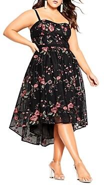 City Chic Plus Floral-Print High-Low Dress