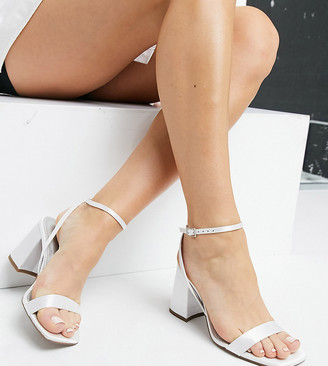 ASOS DESIGN Wide Fit Hudson barely there block heeled sandals in ivory