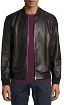 Theory Kelleher Brant Leather Bomber Jacket, Black