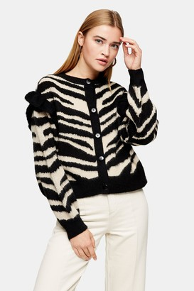 Topshop Womens Frill Sleeve Zebra Print Cardigan - Neutral