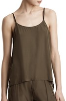 ATM Anthony Thomas Melillo Velvet-Trimmed Silk Camisole Top