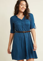 ModCloth T.A.-Okay Shirt Dress in Blue in S