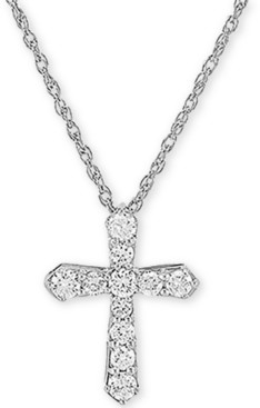 """Forever Grown Diamonds Lab Created Diamond Cross 18"""" Pendant Necklace (1/2 ct. t.w.) in Sterling Silver"""
