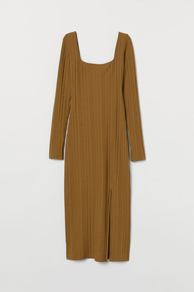 H&M Fitted Ribbed Dress - Beige
