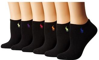 Lauren Ralph Lauren 6-Pack Flat Knit Ultra Low Cut Socks (Black Assorted) Women's Crew Cut Socks Shoes