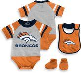 NFL Denver Broncos Size 18M 3-Piece Creeper Bib and Bootie Set