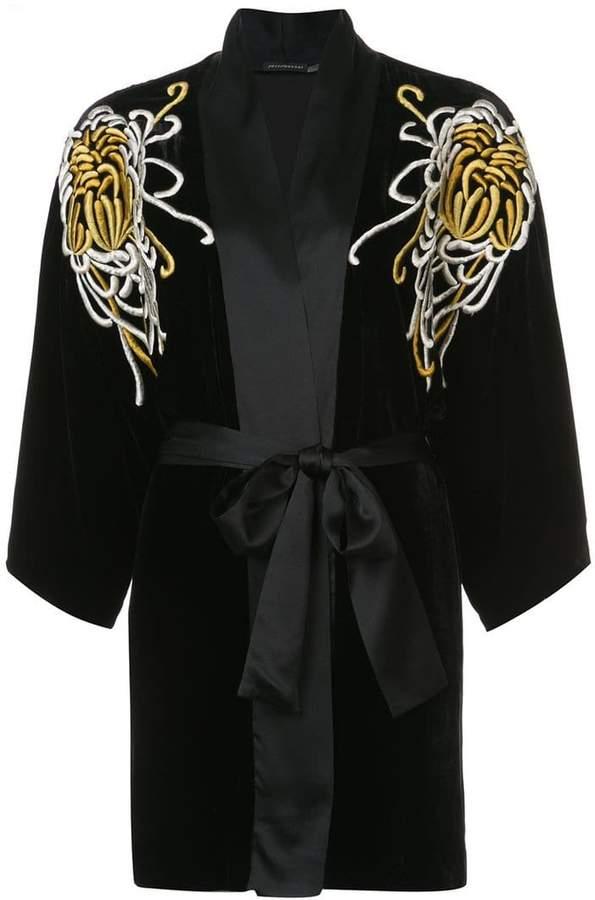 Josie Natori embroidered belted night-gown