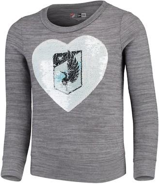 New Era Girls Youth 5th & Ocean by Heathered Gray Minnesota United FC Flip Sequin Pullover Sweatshirt