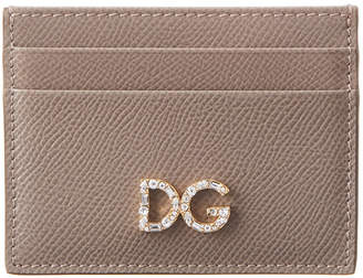 Dolce & Gabbana Dauphine Crystal & Leather Card Holder