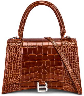 Balenciaga Medium Hourglass Top Handle Bag in Camel | FWRD