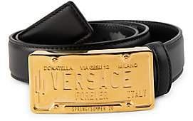 Versace Men's Logo License Plate Leather Belt