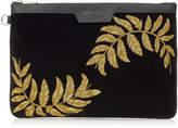 DEREK Black Velvet Document Holder with Gold Feather Embroidery