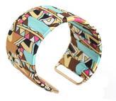 Overstock Goldtone Multicolor Fabric Designed Cuff Bracelet