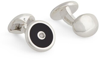 Deakin & Francis Sterling Silver, Onyx And Diamond Cufflinks