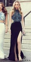 Faviana Beaded Keyhole Cut Out Back Jersey Prom Dress