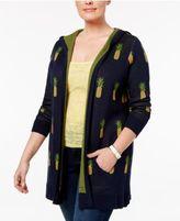 Belldini Plus Size Pineapple-Print Cardigan