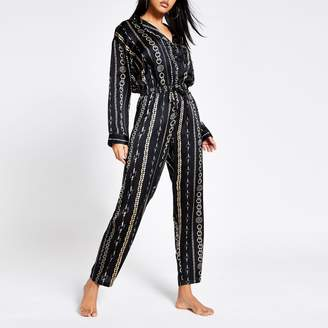 River Island Womens Black chain printed satin pyjama jumpsuit
