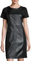 MICHAEL Michael Kors Faux-Leather Ponte Sheath Dress, Black