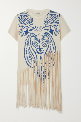 Loewe Fringed Printed Cotton And Silk-blend Jersey T-shirt - Ivory