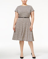 Jessica Howard Plus Size Printed Fit & Flare Dress