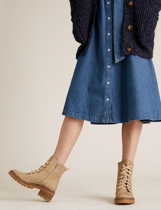 Marks and Spencer Hiker Lace Up Block Heel Ankle Boots