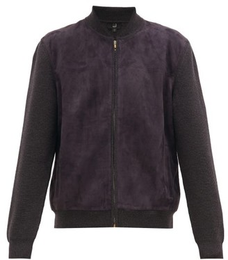 Dunhill Panelled Suede & Merino Bomber Jacket - Mens - Grey