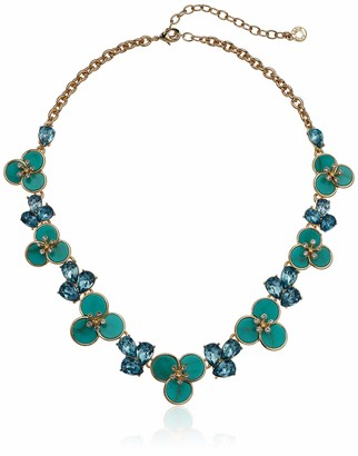 Anne Klein Turquoise Flower Gold Tone 16IN Collar Necklace 60549878-H46