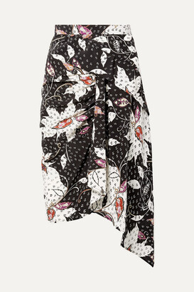 Isabel Marant Roly Draped Printed Silk-blend Skirt - Black