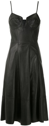 Tufi Duek Flared Leather Dress