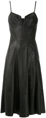 Tufi Duek flared leather dress