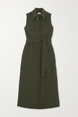 Co Belted Crepe Midi Shirt Dress