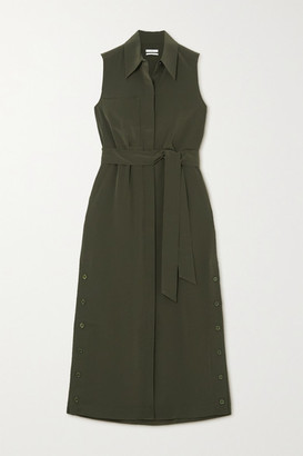 Co Belted Crepe Midi Shirt Dress - Dark green